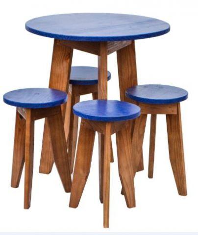 Conjunto Mesa e Banquetas MS Colors - Azul del rey
