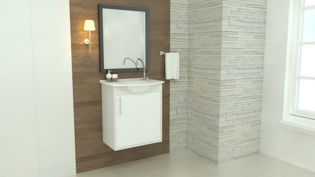 Gabinete para WC com Lavatório ArteFibra - Branco