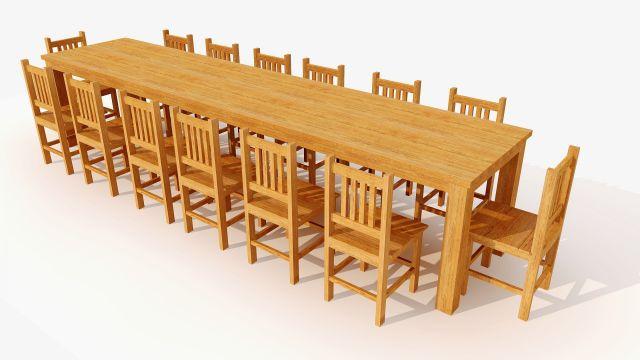Mesa Maciça com 14 Cadeiras - Angelim Pedra