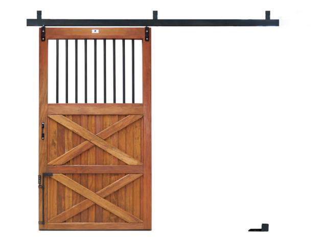 Porta Baia Correr c/ Grade - Peroba
