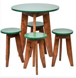 Conjunto Mesa e Banquetas MS Colors - Verde Folha