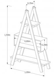 Estante Escada Decor MS Colors - Verde Folha - medidas