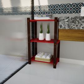 Estante Multiuso 3 Prateleiras Vermelho wc