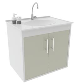 Gabinete WC c/ Lavat. ArteFibra - Cinza Itália (Mod. 302)