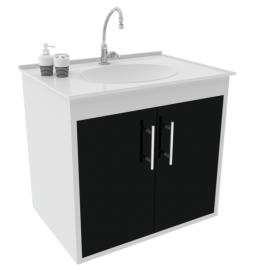 Gabinete WC c/ Lavatório ArteFibra - Preto (Mod. 301)