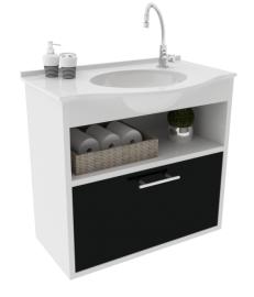 Gabinete WC com Lavatório ArteFibra - Preto (Mod. 201)