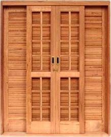 Porta Balcão de Correr Quadriculada Angelim Pedra
