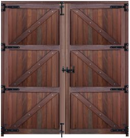 Porta Dupla Inteira Modelo Baia - Angelim Vermelho 2,00m Larg. X 2,20m Alt.