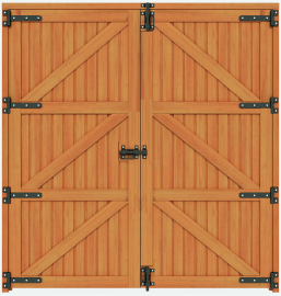 Porta Dupla Inteira Modelo Baia - Eucalipto 2,00m Larg. X 2,20m Alt.